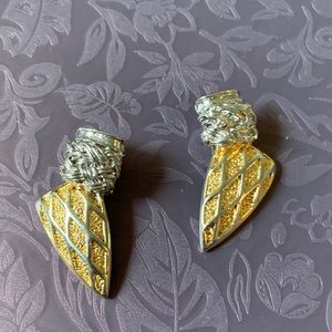 Vintage Gold & silver tone clip earrings